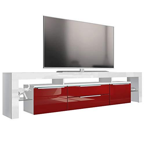 Vladon TV Board Lowboard Lima Nova V2, Korpus in Weiß matt/Front in Bordeaux Hochglanz
