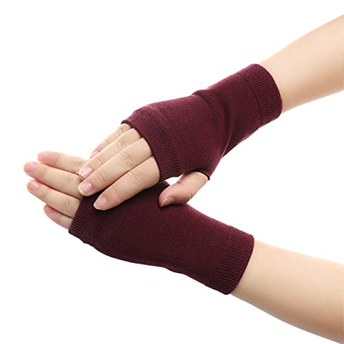 1Pair Women Winter Knitted Fingerless Wool Glove Solid Stretch Half Mitten Lady Knitting Short Cashmere Gloves For Winter Autumn - Red