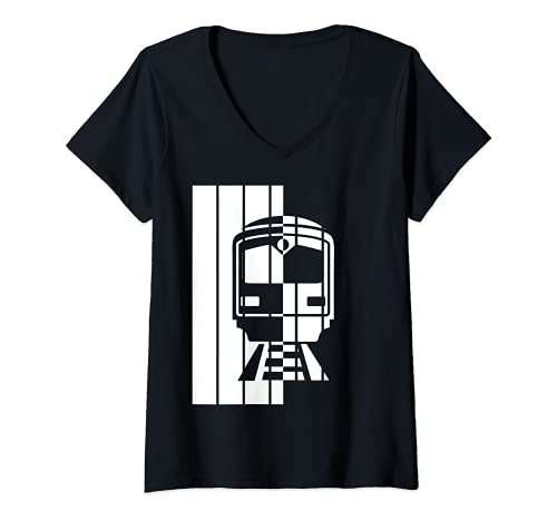 Mujer Conductor de vehculos de ferrocarril, vehculos de ferrocarril, locomotora Camiseta Cuello V