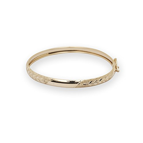 Jewelryweb Solid 10k Yellow Gold 5.5-inch Flexible Bangle Bracelet for Girls
