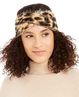 Dkny Fuzzy Animal Print Knit Twist Headband- Size One