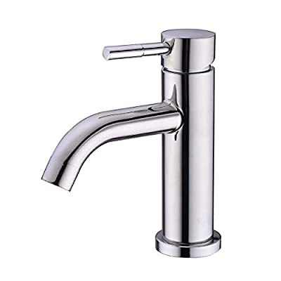 HANEBATH Single Handle One Hole Stainless Steel Bathroom Sink Faucet, Chrome