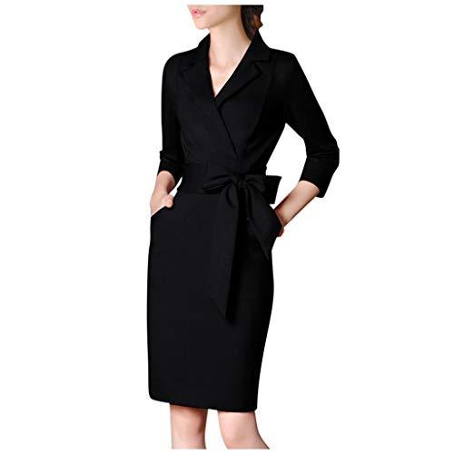 Kleider Damen Blazer Vintage Revers Swing Abendkleid Business Bodycon V Ausschnitt Partykleid Pencil Etuikleider Hemdkleid (3XL, Schwarz)