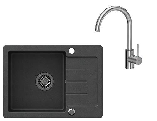 VBChome Spülbecken Schwarz 60 x 44 cm mit Spültischarmatur Granit Einzelbecken Einbauspüle gesprenkelt reversibel Verbundspüle + Siphon Wasserhahn Einhebel