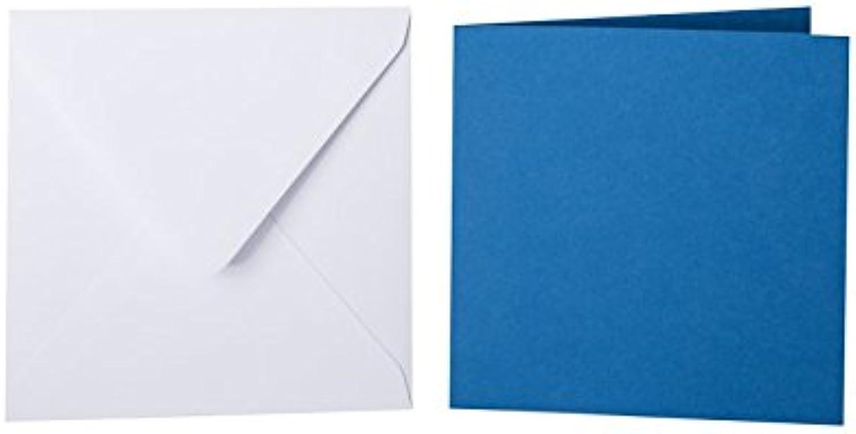 100 quadratische Briefumschläge 130 x 130 mm Weiß mit Dreieckslasche, 100g  100 Faltkarten 125 x 125 mm, 240g, Farbe  33 Königsblau B015PQKJ5O | Qualität
