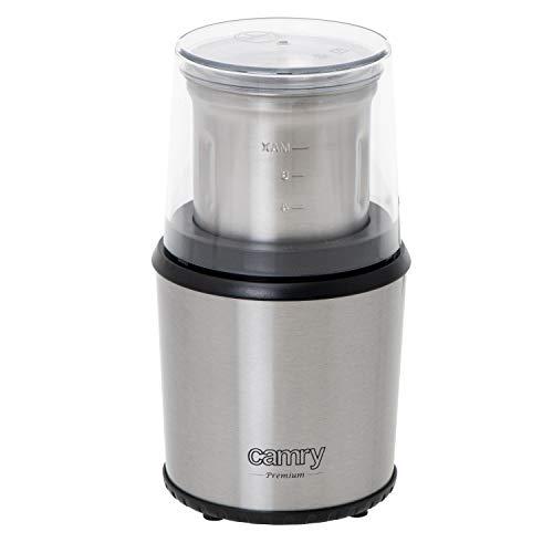 CAMRY CR 4444 Kaffeemühle mit Sicherheitsdeckel, Volumen 75 g, 400W, Gehäuse aus Edelstahl, sichere Elektromühle mit Löffel, Elektrische Propellermühle mit transparentem Deckel