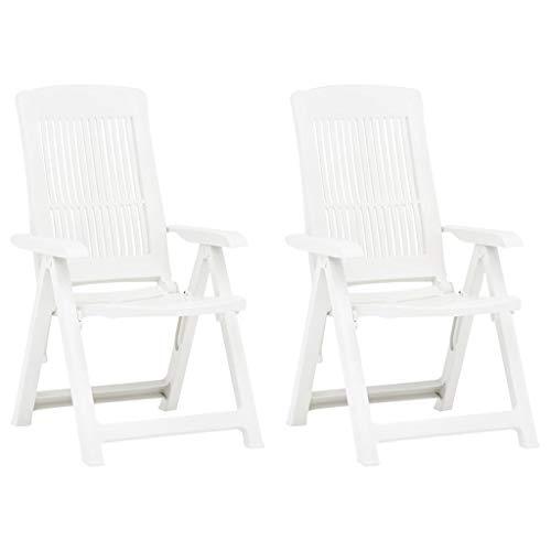 vidaXL 2X Gartenstuhl Verstellbar Klappstuhl Klappsessel Stuhl Campingstuhl Hochlehner Stühle Gartenstühle Gartenmöbel Kunststoff Weiß