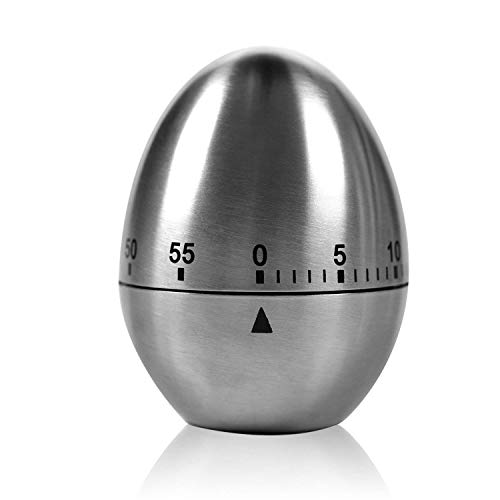 """TURATA Zeitmesser Küche Kurzzeitmesser """"Ei"""" Küchentimer Eiförmige lustige Eieruhr Edelstahl rostfrei Kurzzeitwecker küche mit Stoppuhr Handwäsche"""