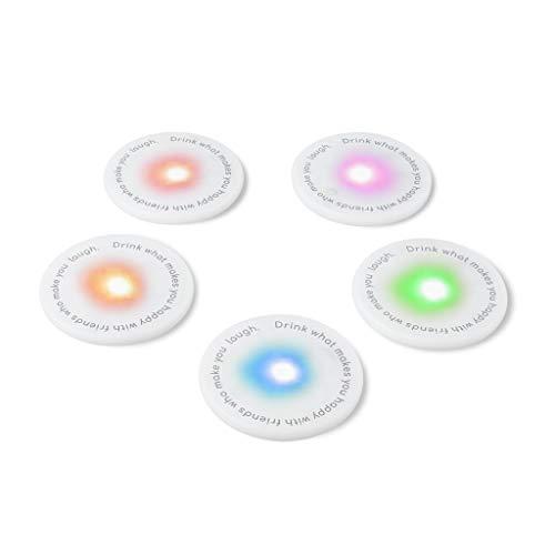 balvi Untersetzer LED UFOs 5teiliges Set Ideal für Partys Batterien inbegriffen 5xCR2025 Aus Polypropylen