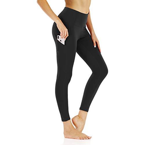Scicent Tights High Waist Yogahose Schwarz Yoga Hose Sporthose Yogahose mit Taschen Leggings Hose für Frauen L