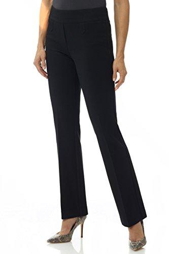 Rekucci Women's Secret Figure Pull-On Knit Bootcut Pant w/Tummy Control (16 Short, Black)