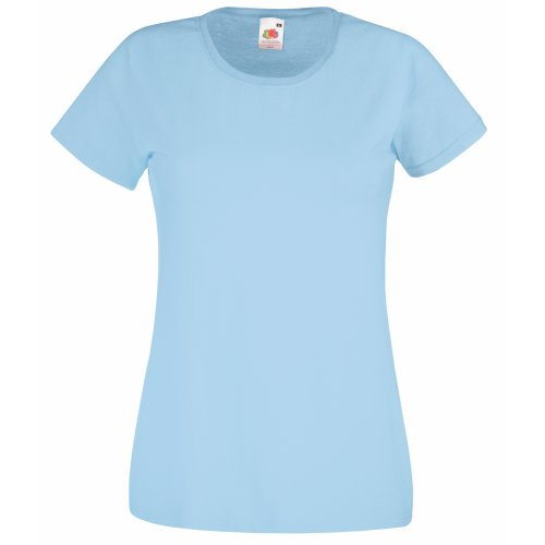 Fruit of the Loom Damen T-Shirt Valueweight T Lady-Fit 61-372-0 Sky Blue XXL