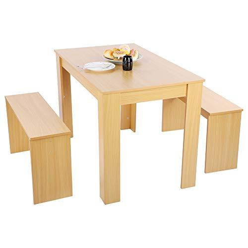 Wakects Juego de mesa de comedor con 2 sillas de estilo moderno, mesa de comedor de madera, juego de 3 piezas, mesa de desayuno, mesa de MDF para cocina, 108 x 65 x 72 cm