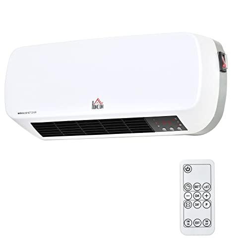 HOMCOM Calefactor Cerámico de Pared 1000W/2000W con Mando a Distancia 3 Modos de Viento Temporizador de 12H Termostato y Sistema Antivuelco para 25 m² 45x18,6x11,5 cm Blanco
