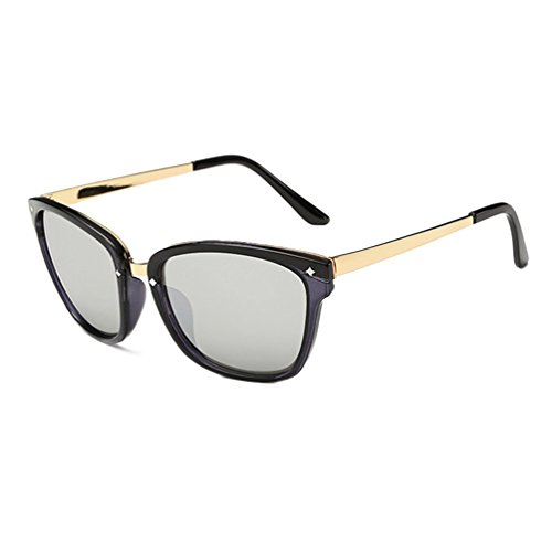 tansle colorido Lentes de Espejo retro Wayfarer Unisex Colorful polarizadas gafas de sol Plateado negro/plata