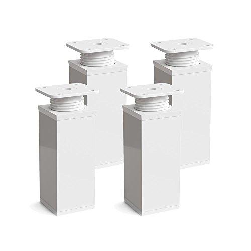 sossai® Patas para muebles MFV1 | 4 piezas | altura regulable | Diseño: Blanco | Altura: 120 mm (+20mm) | Perfil cuadrado: 40 x 40 mm |Tornillos incluidos