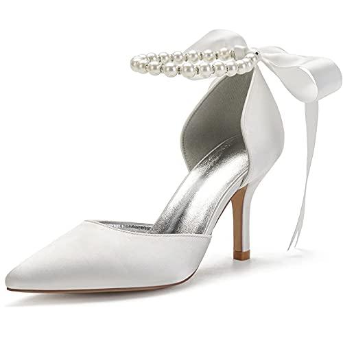 Mujeres Perla Zapatos Novia, Sexy Zapatos Corte, Altura Los Tacones 7Cm, Puntiagudo...