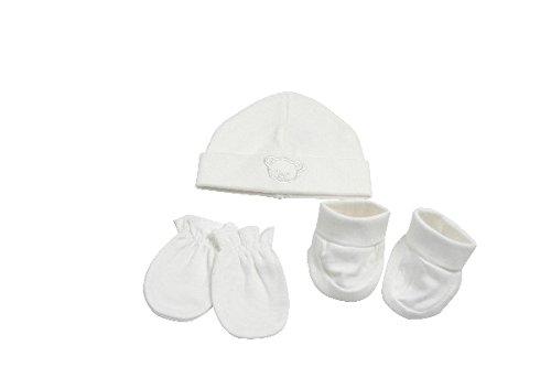 KING BEAR Magnifique coffret cadeau naissance 4 pi/èces comprenant 1 bonnet 1 paire de chausson 1 paire de moufles et 1 bavoir.