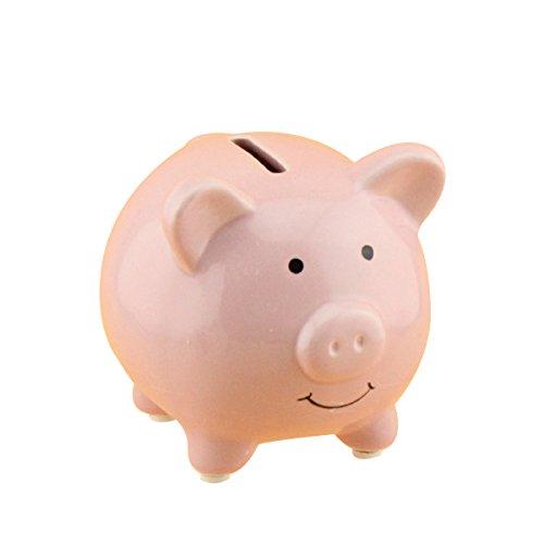 WINOMO - Hucha de cerámica para ahorrar dinero y guardería, decoración para niñas y niños (rosa)