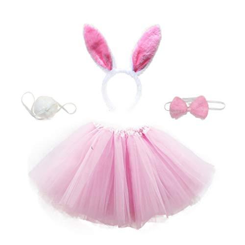 Amosfun Disfraz de Conejo para Nios Diadema de Oreja Pajarita Cola Tut Falda Disfraz de Fiesta Traje de Costume para Pascua