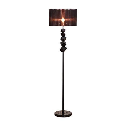 Lámpara de Pie Lámpara de pie negro con lámpara de piso moderna del siglo mediano for la sala de estar, el polo de la luz de la hierro del dormitorio con cristal lámpara de lectura (Color : Black)