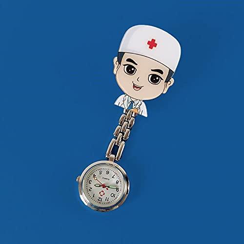 Relojes de Doctor Enfermera,Puede estirar la mesa de la enfermera,reloj de bolsillo con luz nocturna duradera para niños,reloj de bolsillo para mesa en el pecho, QQ,Esfera Redondo Reloj de Enfermera