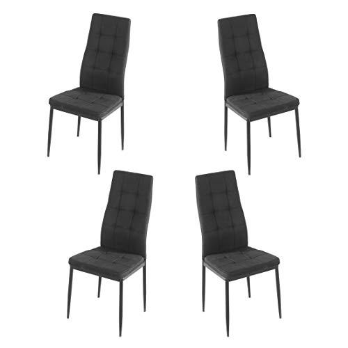 Brigros - Sedie di Tessuto Milano - Set da 4 Sedie Design per Sala da Pranzo, Sedie da Cucina, Ufficio, Sala d'Attesa, Camera da Letto (Nero)
