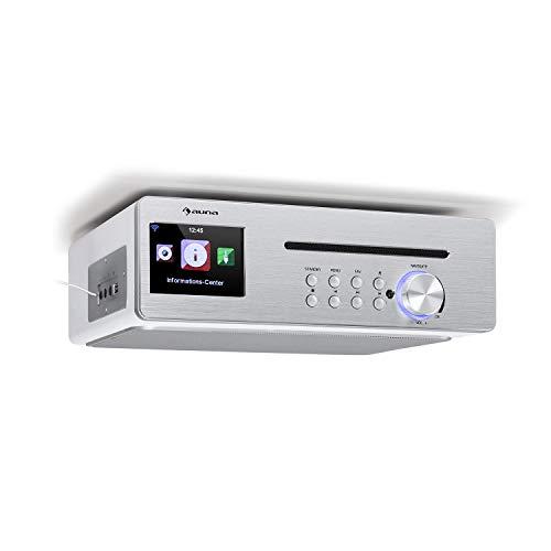 """auna Silverstar Chef Küchenradio, Unterbauradio, 10W RMS / 20W max, CD-Player, Bluetooth-Funktion, Radio: Internet/DAB+/UKW, 2,4\"""" TFT Farbdisplay, USB-Port, AUX-Eingang, weiß"""