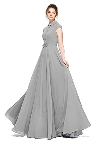 FIBREZA Women's A-line Maxi Dress (Grey, Medium)