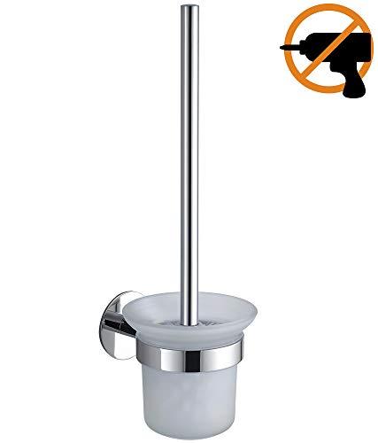 Wangel WC-Bürste und Halter WC-Bürstengarnitur ohne Bohren, Patentierter Kleber + Selbstklebender Kleber, Edelstahl und Glas, Poliertes Finish