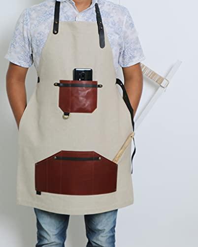 IMPEXART PVT LTD Delantal de piel para hombre, delantal de chef de calidad profesional, con correa ajustable para el cuello y dos bolsillos, 100 % 70 x 85 cm