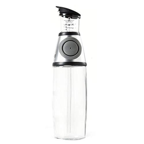 Botella De Aceite De Con Caño, 500 Ml Pulverizador Spray Oliva Aceite Portátil, Dispensador De Vinagre Y Aceite De Vidrio, A Prueba De Fugas Y Apto Para Lavavajillas,Plata