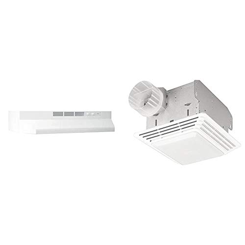 Broan-NuTone 413001 Non-Ducted Ductless Range Hood, 30-Inch, White & 678 Exhaust Ventilation Fan and Light Combination for Bathroom and Home, 50 CFM, 2.5 Sones, White