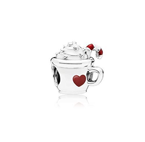MiniJewelry - Abalorio para pulsera, diseño de pizza, chocolate y café, para pulsera, regalo de cumpleaños Blanco