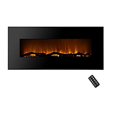 SHORFUNE 50  Electric Fireplace with Remote, 10 Color Lifelike Flames, 4 Changeable Media Beds, 1500W, Black