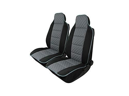 2x Sitzauflage Sitzkissen Sitzmatten Rückenkissen Auto Sitzschöner Grau Kunstleder + Stoff