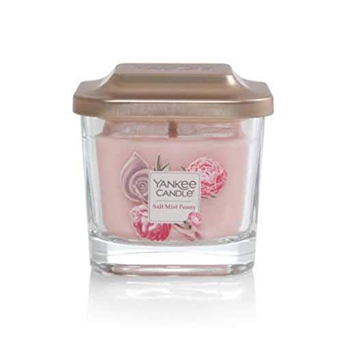 Yankee Candle Elevation Collection with Platform Lid Salt Mist Peony Scented Candle, Small 1-Wick, 28 Hour Burn Time