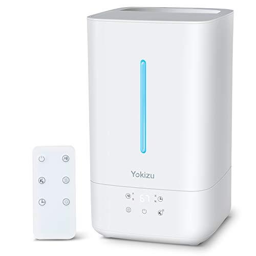 加湿器 大容量 Yokizu 卓上 5L アロマ ハイブリッド 加熱式 上から注水 超音波 静音 35時間連続稼働 自動運転 リモコン タイマー LEDライト 高さ1Mミスト 寝室 リビング 6-32畳 おしゃれ お手入れ簡単 省エネ 乾燥 花粉症対策 ホワイト MP1-1005X