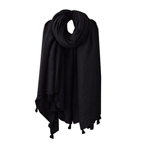 Emorias 1 x Schal mit Quaste, für Damen, groß, quadratisch, Schal, Herbst und Winter, Schwarz
