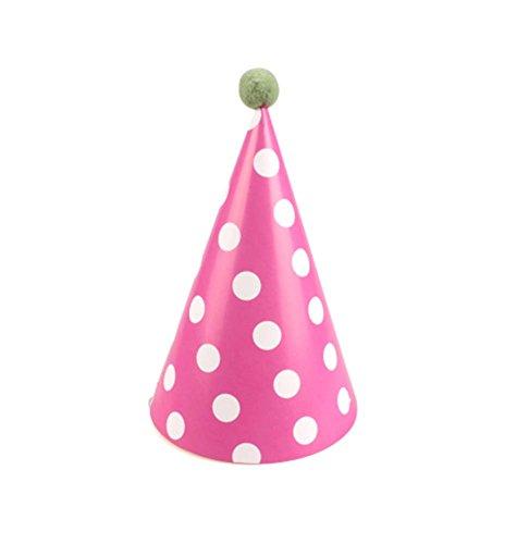 Blancho Fournitures 7Pcs d'anniversaire d'enfants Hat Party Party Hat, Rose Red Dots