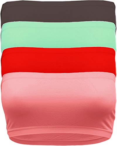 Strapless Bandeau Bra, Seamless Stretchy Crop Tube Top Pack Sets of 4 or Single RED_MNT_BRWN_COR-Plus