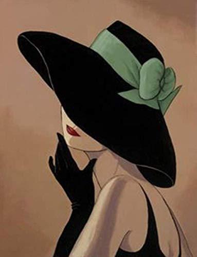 DIY Pintar por números para Adultos e niños - Elegante mujer con sombrero negro- Kit de pintura al óleo digital para decoración de pared