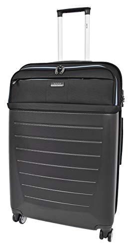 Large Size Check-in Luggage 4 Wheel Hard Shell Lightweight Travel Trolley Suitcase Bag A166 Black