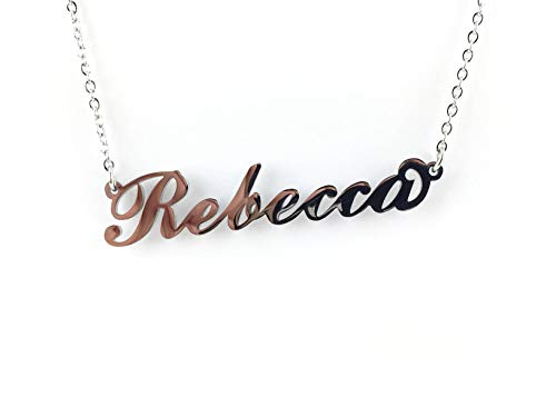 Collana Donna con Nome Rebecca in Acciaio in corsivo Elegante Girocollo Regolabile Anallergico Color Argento Confezione Regalo Inclusa