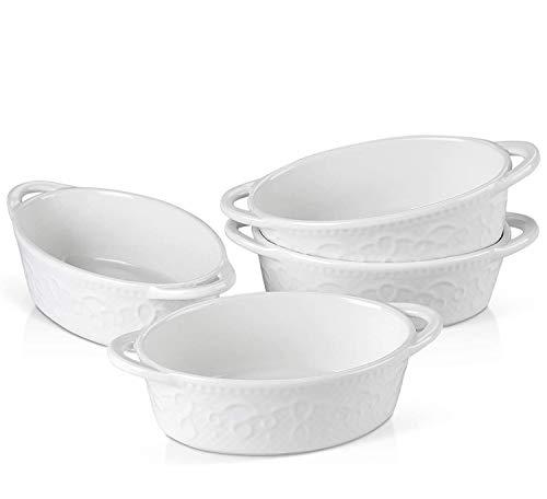 MALACASA - Juego de 4 platos de porcelana para repostería, diseño de vid blanca de doble mango Ramekins Soufflé para pudín y crema