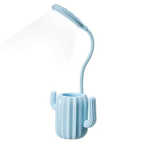 VADIV Lámpara Escritorio Led,Niño Cactus Flexo Lámpara de Mesa con Portalápices de Mesa USB Regulable Recargable 3 Modos Para Leer Estudiar Protege a Ojos - Azul