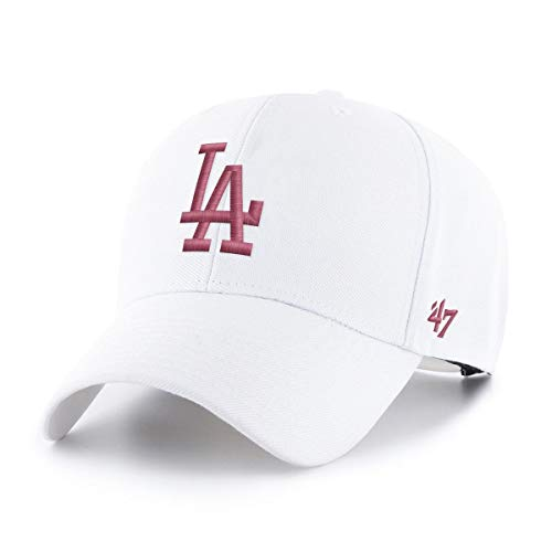 47Brand Los Angeles Dodgers MLB Cap Verstellbar Baseball Kappe Snapback Weiss Rosa - One-Size