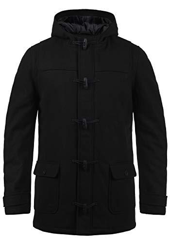 !Solid Wummer Herren Winter Mantel Wollmantel Winterjacke im Dufflecoat Stil mit Kapuze, Größe:M, Farbe:Black (9000)
