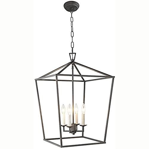 Lámpara de barra de restaurante americana, hierro forjado Birdcage Birdcage porche Candle...