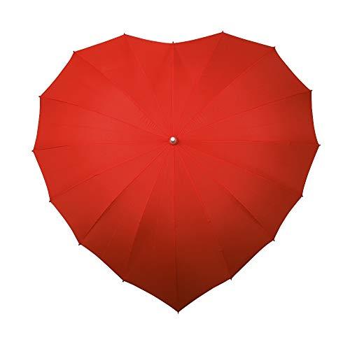 VON LILIENFELD Regenschirm Damen Sonnenschirm Brautschirm Hochzeitsschirm Herz rot